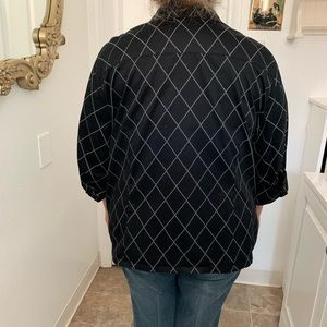 Tops - Plus Size Black Diamond Pattern Blouse
